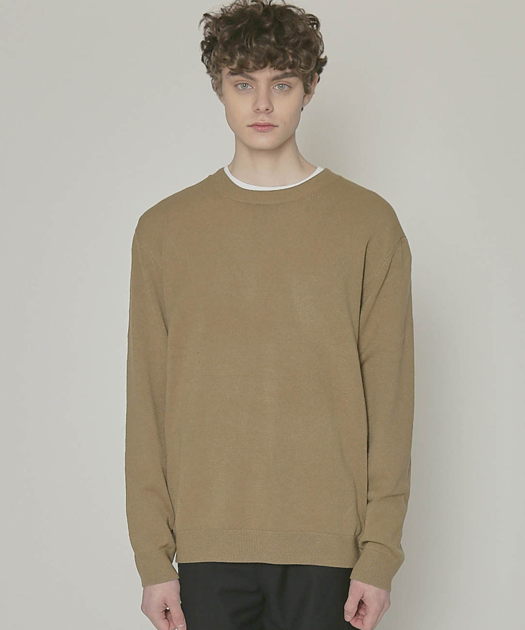 DWS SOFT BASIC ROUND SWEATER(DARK OLIVE)